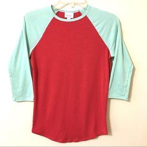 LuLaRoe Baseball Shirt Color Block Mint-Orange XXS